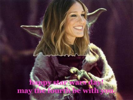 happy star wars day yoda carrie bradshaw puns