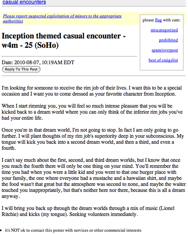 craigslist casual encounters safe 31 years old male for single female or couple (play only safe, bondage and mastery occasionally) straight, sportsman, classy, tall, little bearded please no lone males and bots.