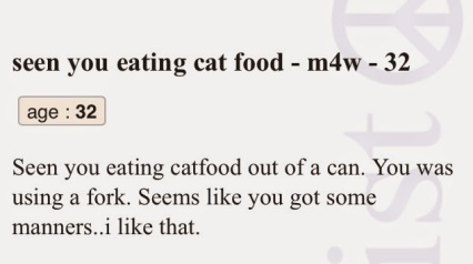craigslist missed connection cat food manners