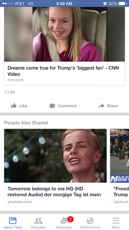 donald trump biggest fan facebook also shared tomorrw belongs to me cabaret