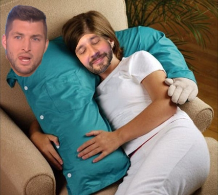 tim tebow boyfriend arm pillow